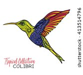colibri. colored tropical bird. ... | Shutterstock .eps vector #413514796