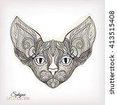 decorative cat head on... | Shutterstock .eps vector #413515408