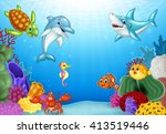 cartoon tropical fish with... | Shutterstock .eps vector #413519446