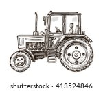Farm Tractor Sketch. Hand Draw...