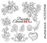 set of ornamental boho style... | Shutterstock .eps vector #413525968