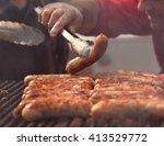 chorizo sausages  | Shutterstock . vector #413529772