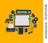 lifestyle desk work space. flat ... | Shutterstock .eps vector #413531428