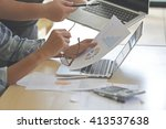 business hand working  and... | Shutterstock . vector #413537638