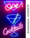 """neon sign """"cocktails"""" on a... 