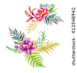 painted chinese bouquets of... | Shutterstock . vector #413548942