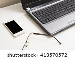 office desk with laptop smart... | Shutterstock . vector #413570572