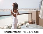 luxury travel vacation woman... | Shutterstock . vector #413571538