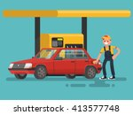 gas station. worker filling... | Shutterstock .eps vector #413577748
