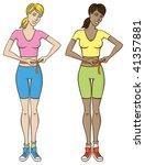 two women measure a waist | Shutterstock .eps vector #41357881