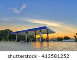 gas station at sunset. | Shutterstock . vector #413581252