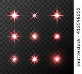 set of vector glowing light... | Shutterstock .eps vector #413598022