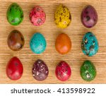 quail easter eggs on wooden... | Shutterstock . vector #413598922