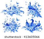 set of isolated blue watercolor ... | Shutterstock . vector #413605066