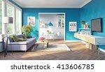 modern living room interior... | Shutterstock . vector #413606785
