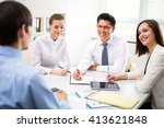 business people discussing at... | Shutterstock . vector #413621848