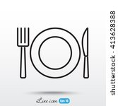 line icon  plate  knife and fork | Shutterstock .eps vector #413628388