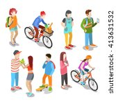 active urban young casual... | Shutterstock .eps vector #413631532
