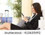 side view of a businesswoman... | Shutterstock . vector #413635492