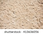 many footsteps on the sand beach | Shutterstock . vector #413636056