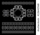 set of floral decoration... | Shutterstock .eps vector #413643568