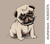 Puppy Pug On A Beige Backgroun...