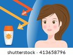 uv protection vector with model ...   Shutterstock .eps vector #413658796