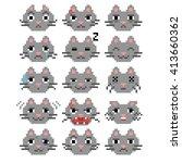 Set Of Pixel Cat Emoticons....