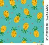 pineapple vector pattern... | Shutterstock .eps vector #413661202