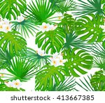 seamless pattern with exotic... | Shutterstock .eps vector #413667385