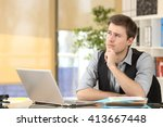 serious doubtful businessman... | Shutterstock . vector #413667448