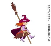 cute witch on a broomstick ... | Shutterstock .eps vector #413671798