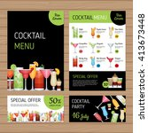 cocktail menu design. alcohol... | Shutterstock .eps vector #413673448