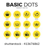 basket flat icons set with...