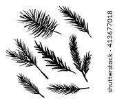 set of vector hand drawn ink... | Shutterstock .eps vector #413677018