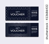 vector template gift voucher.... | Shutterstock .eps vector #413686432