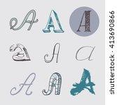 original letters a set ... | Shutterstock .eps vector #413690866