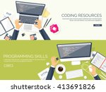 programming and coding... | Shutterstock .eps vector #413691826