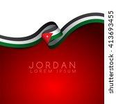 jordan flag ribbon   vector... | Shutterstock .eps vector #413693455