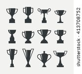 set of trophy cup. collection... | Shutterstock .eps vector #413708752