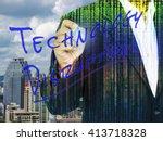 fintech and digital technology... | Shutterstock . vector #413718328