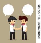 businessmen shaking hands with... | Shutterstock .eps vector #413722735