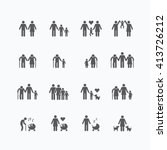 family silhouette icons flat... | Shutterstock .eps vector #413726212