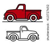 two cartoon vintage pick up... | Shutterstock .eps vector #413727652