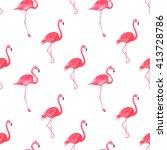 flamingo pink watercolor repeat ... | Shutterstock . vector #413728786