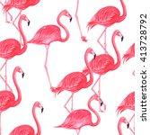 flamingo pink watercolor repeat ... | Shutterstock . vector #413728792
