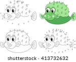 funny cartoon green pufferfish. ... | Shutterstock . vector #413732632