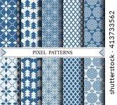 pixel pattern  textile  pattern ... | Shutterstock .eps vector #413733562
