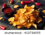 hot spicy sriracha potato chips ... | Shutterstock . vector #413736055