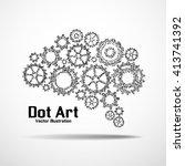 dot art design of the brain... | Shutterstock .eps vector #413741392